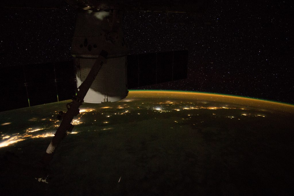 The Expedition 59 crew on board the International Space Station captured this image of a meteor at 7:21:23 GMT on May 10, on a night pass over the Pacific Ocean and California coast. (Image courtesy of the Earth Science and Remote Sensing Unit, NASA Johnson Space Center)