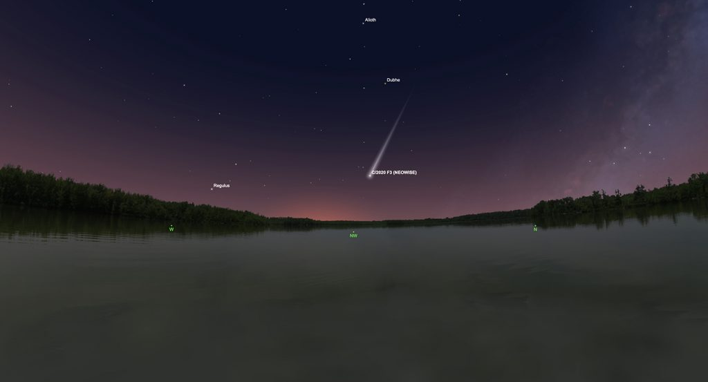 The graphic shows the comet as seen from Huntsville, Friday, July 17 at 9 PM. Look almost due northwest, 15 degrees above the horizon. The comet will be below the stars in the bowl of the Big Dipper, and about as bright (magnitude 3). Binoculars should give a really spectacular view!