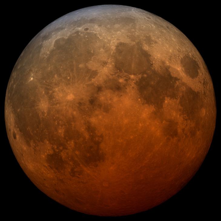 A telescopic visualization of the 2021 total lunar eclipse.