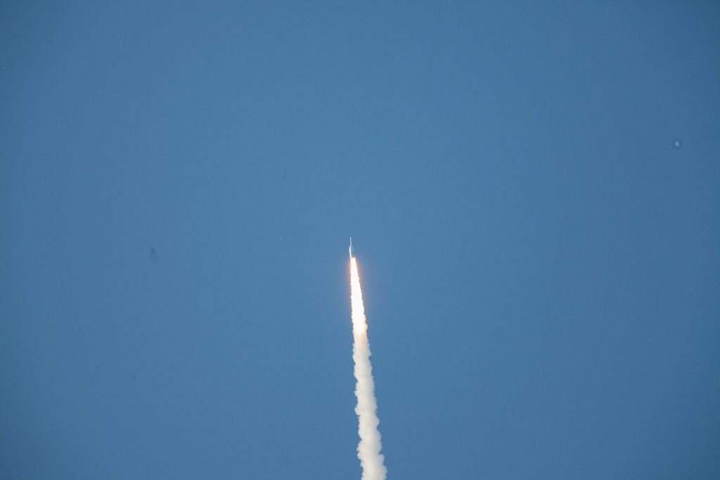 The two main objectives of the Ascent Abort-2 flight test were to execute the abort by demonstrating it can be completed end to end, and to collect key data. Photo credit: NASA/Frank Michaux