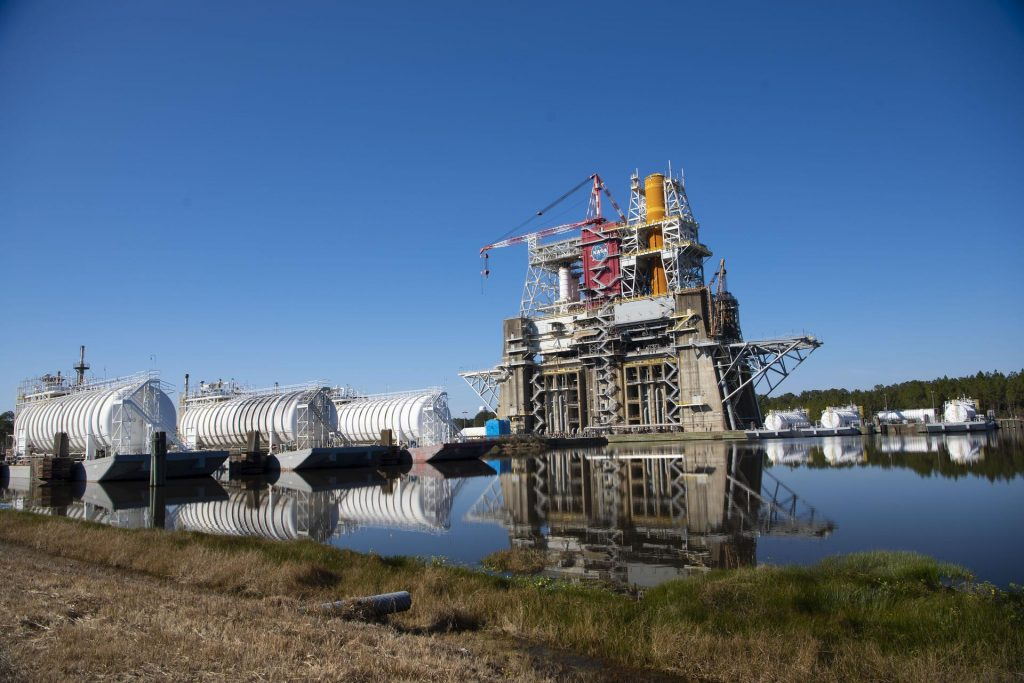 Propellant barges docked near the B-2 Test Stand