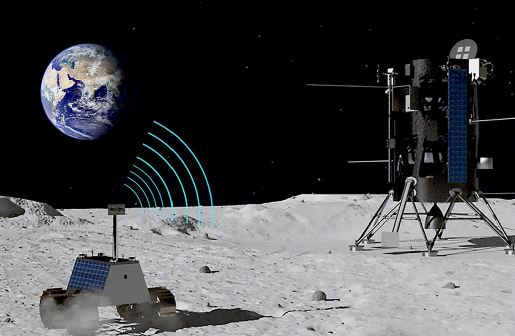 lunar rover communicates with lander
