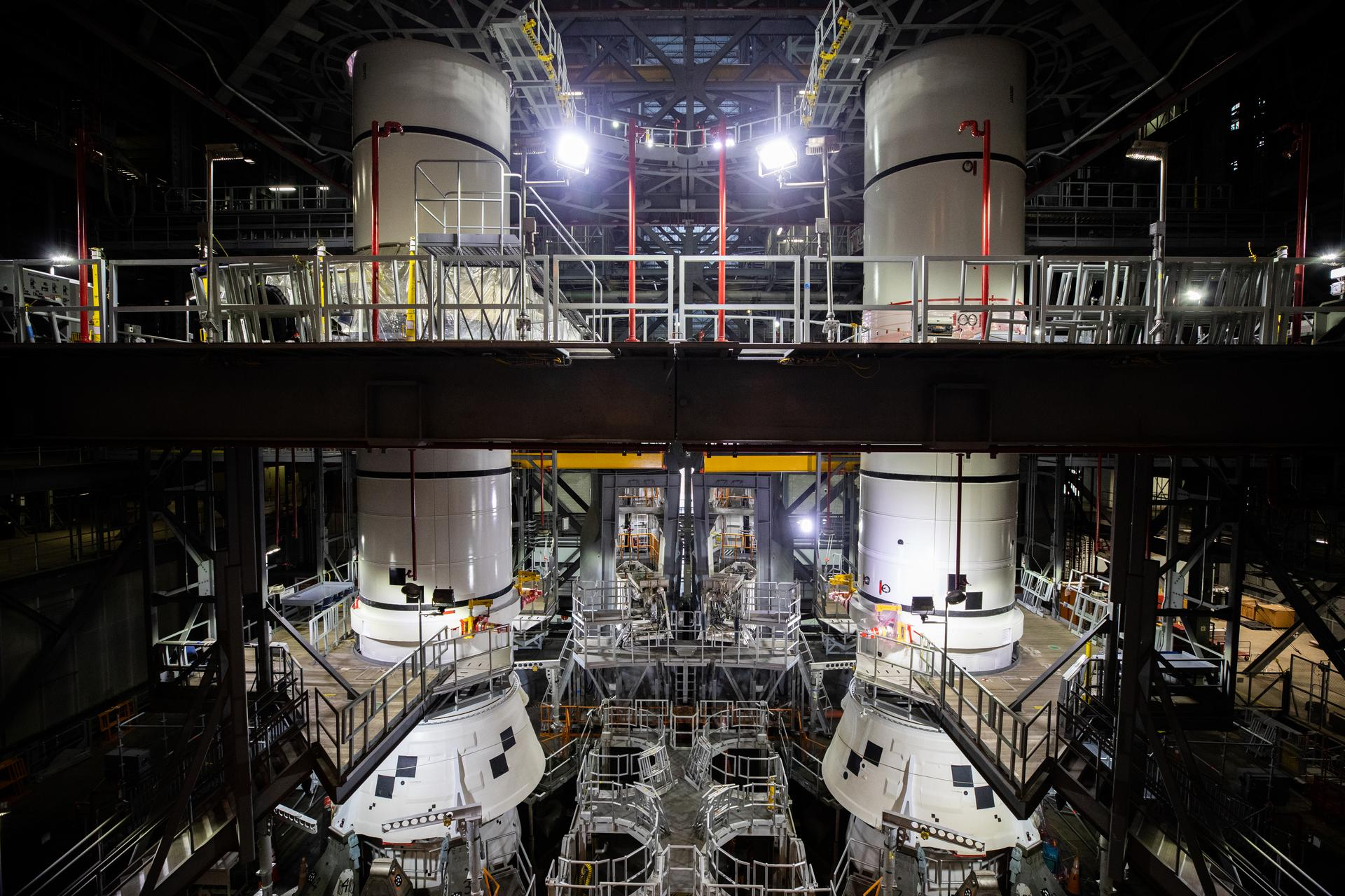 In High Bay 3 of the Vehicle Assembly Building at NASA's Kennedy Space Center in Florida, the right-hand center aft booster segment for Artemis I is stacked on the mobile launcher for the Space Launch System (SLS) on Jan. 7, 2021.