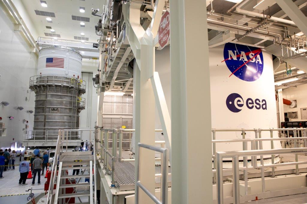 The ICPS is inside the Multi-Payload Process Facility at Kennedy Space Center on Feb. 18, 2021.
