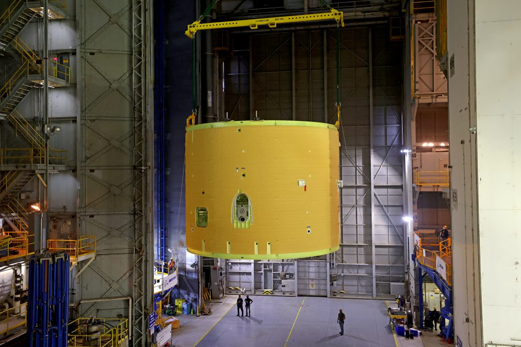 The Artemis II Intertank is lifted into the Cell D of the VAB at NASA Michoud Assembly Facility on Friday, March 19, 2021.