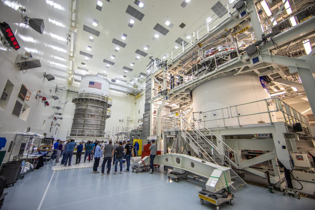 A view of the Interim Cryogenic Propulsion System in the Multi-Payload Processing Facility at NASA's Kennedy Space Center in Florida.