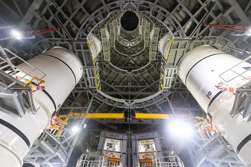 The fully stacked twin solid rocket boosters for NASA's Space Launch System (SLS) rocket