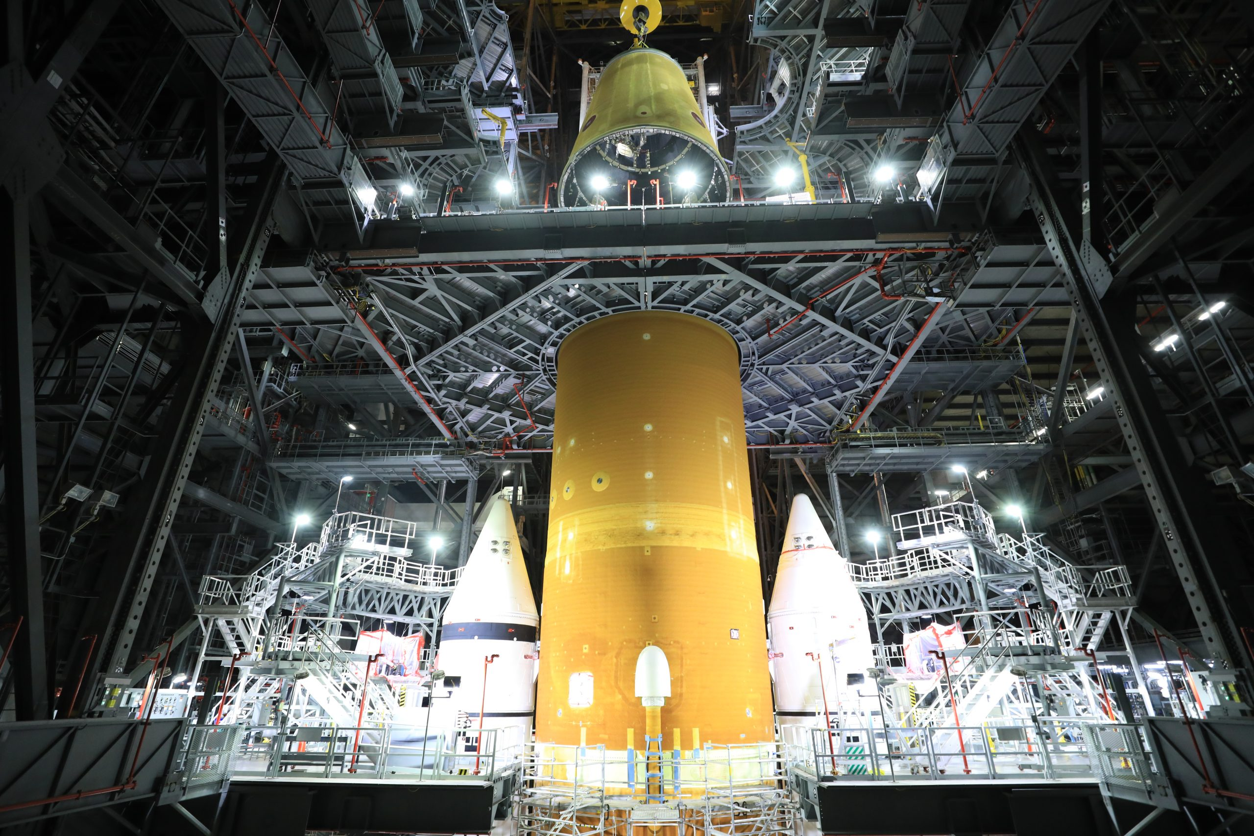 The launch vehicle stage adapter for the Space Launch System rocket is integrated with the core stage inside the Vehicle Assembly Building.