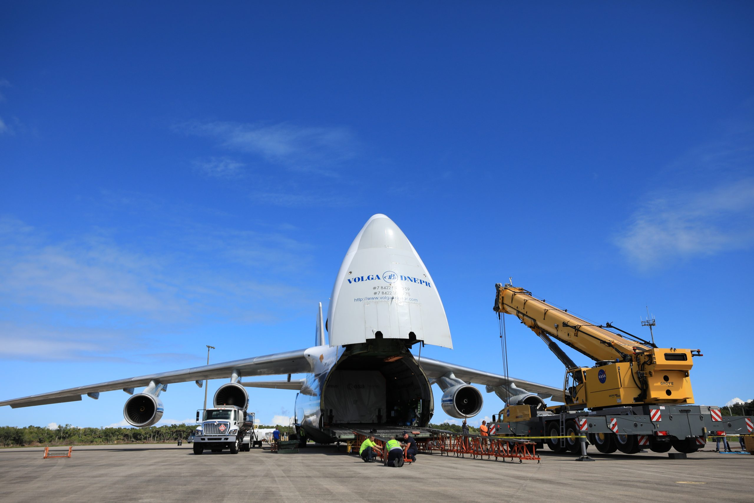 The European Service Module (ESM) for NASA's Orion spacecraft arrives at the Launch and Landing Facility at NASA's Kennedy Space Center in Florida on Thursday, Oct. 14, 2021.