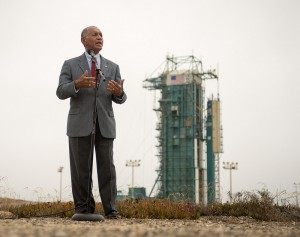 NASA Administrator Charles Bolden discusses Earth Science near the launch site for OCO-2. NASA photo by Bill Ingalls
