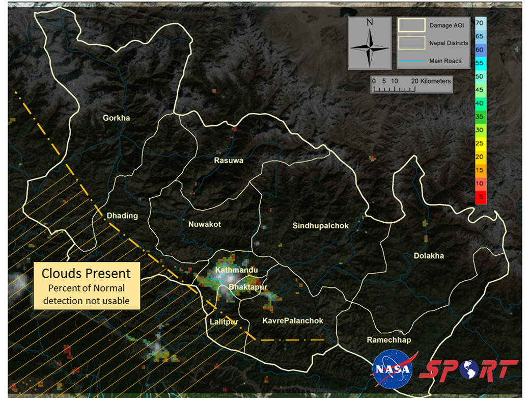 "Image shows a decrease in emitted light over Nepal in areas affected by the earthquake on April 25 as detected by the Visible Infrared Imaging Radiometer Suite, VIIRS, ""Day-Night Band"" sensor aboard the NASA/NOAA Suomi National Polar-Orbiting Partnership satellite, derived from a comparison of pre-earthquake (22 April 2015) and post-earthquake (26 April 2015) imagery.  Input satellite data were obtained in collaboration with the NASA Suomi NPP Science Investigator-Led Processing System activities at the University of Wisconsin. Note: The outline is of the domain of 11 districts in the immediate region of the earthquake with each of the districts names bolded.  Blue lines are the major roadways, and thin lines are the district boundaries.  The crosshatch yellow line delineates where clouds are present in both the thermal and shortwave infrared imagery. Images Produced By: The Short-term Prediction Research and Transition (SPoRT) team at NASA's Marshall Space Flight Center in Huntsville, Alabama."