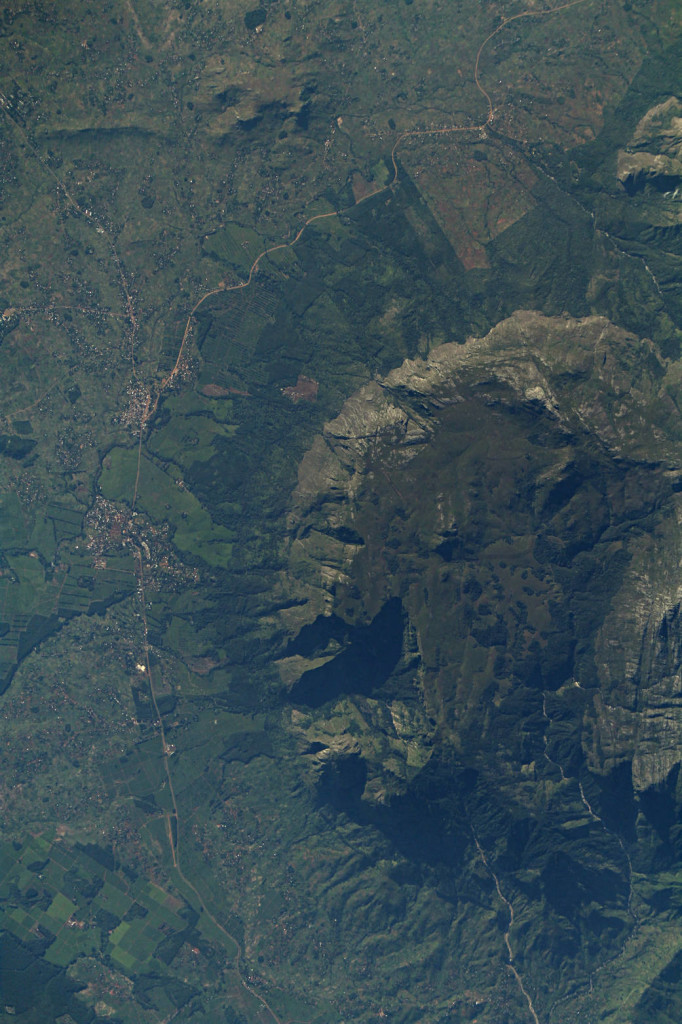 The ISERV camera aboard the International Space Station acquired images of portions of Malawi (Africa) like this one that are being studied for changes in land use and subsistence agriculture. Residents of the villages adjacent to the mountainous region shown in this image are changing their land use patterns in response to changing climate and the demands of increased population.