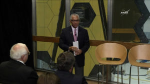 Administrator Bolden showcases the James Webb Space Telescope at NASA's Goddard Space Flight Center in Greenbelt, Md.