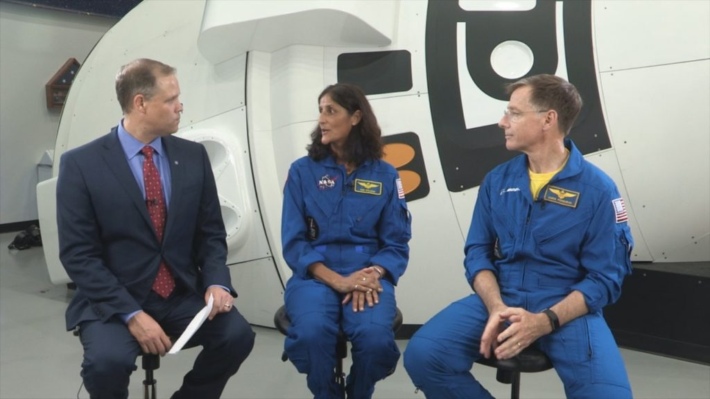 NASA administrator and two astronauts sit down for conversation