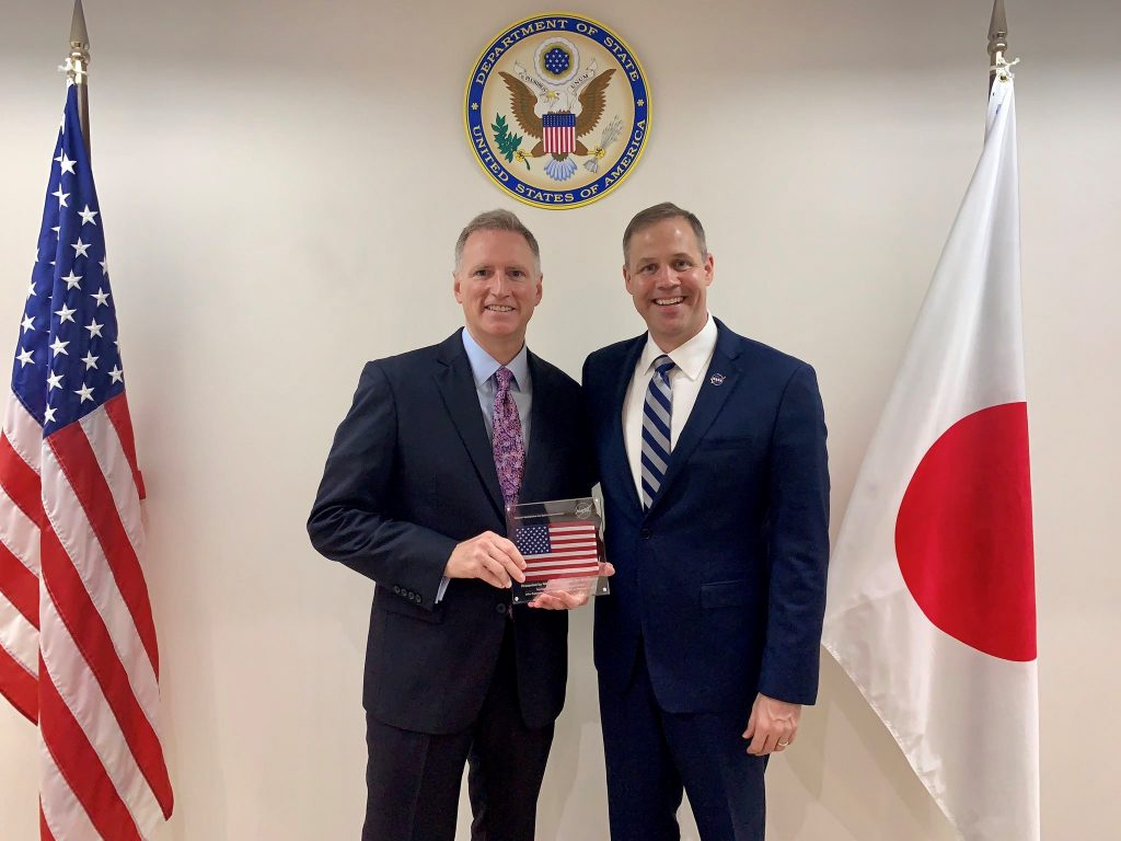 NASA Administrator Jim Bridenstine and Charge d' Affaires ad interim Joseph Young at the U.S. Embassy in Japan.