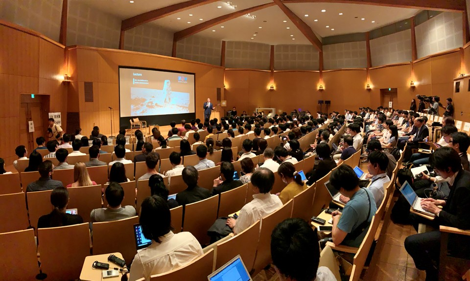 NASA Administrator Jim Bridenstine speaks to students at the University of Tokyo Sept. 24, 2019.