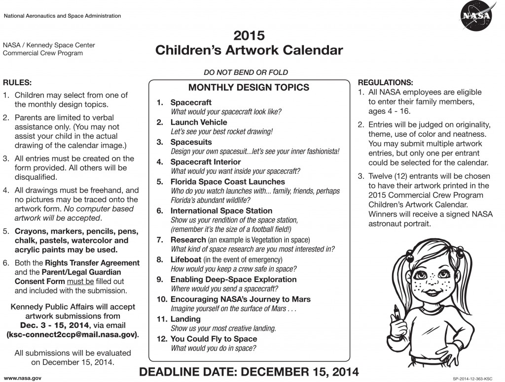 Calendar Drawing Contest : Space for all at hobbyspace nasa sponsors children s art