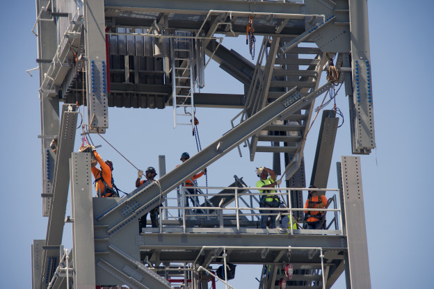 Crew Access Tower Stacking Passes Midway Point