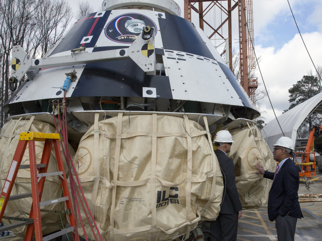 Administrator Charles Bolden with Boeing CST-100