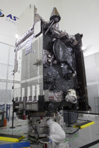 The Geostationary Operational Environmental Satellite (GOES-R) is undergoing final launch preparations prior to fueling inside the Astrotech payload processing facility in Titusville, Florida near NASA's Kennedy Space Center. GOES-R will be the first satellite in a series of next-generation NOAA GOES Satellites. The spacecraft is to launch aboard a United Launch Alliance Atlas V rocket in November.