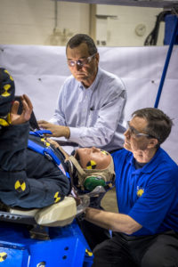Engineers working with Boeing's CST-100 Starliner test the spacecraft's seat design in Mesa, Arizona, focusing on how the spacecraft seats would protect an astronaut's head, neck and spine during the 240-mile descent from the International Space Station. The company incorporated test dummies for a detailed analysis of impacts on a crew returning to earth. The human-sized dummies were equipped with sensitive instrumentation and secured in the seats for 30 drop tests at varying heights, angles, velocities and seat orientations in order to mimic actual landing conditions. High-speed cameras captured the footage for further analysis. The Starliner spacecraft is being developed in partnership with NASA's Commercial Crew Program.