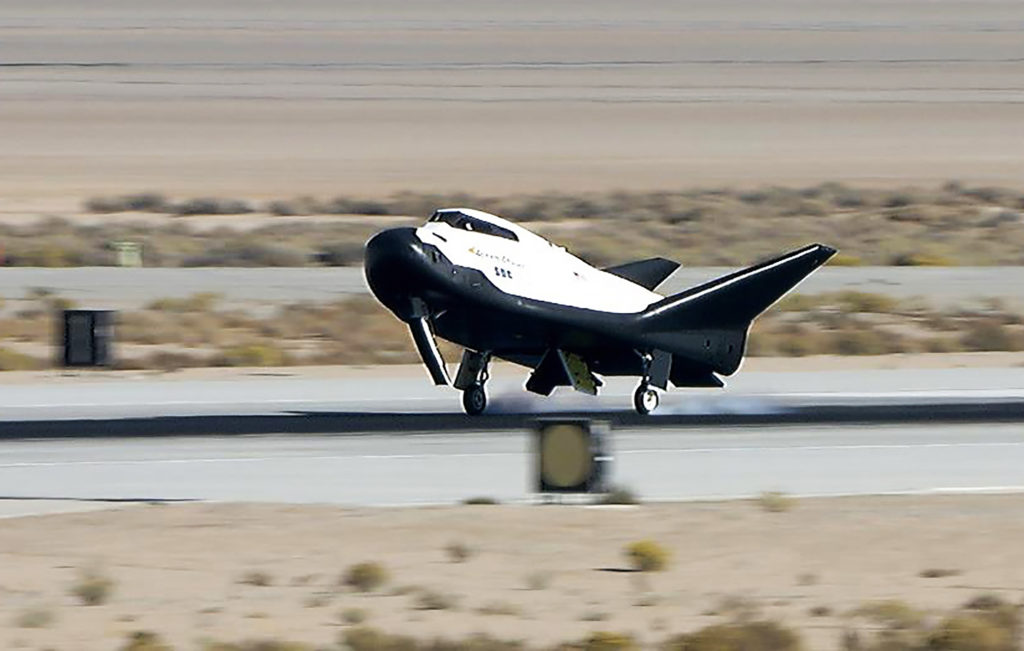 Having been dropped from an altitude of 12,400 feet, Sierra Nevada Corp's Dream Chaser lands at Edwards Air Force Base in California, as part of a successful free flight on Nov. 11, 2017. It was a crucial milestone to help finalize the design for the cargo version of the spacecraft for future resupply missions to the International Space Staton. Photo credit: NASA/Carla Thomas