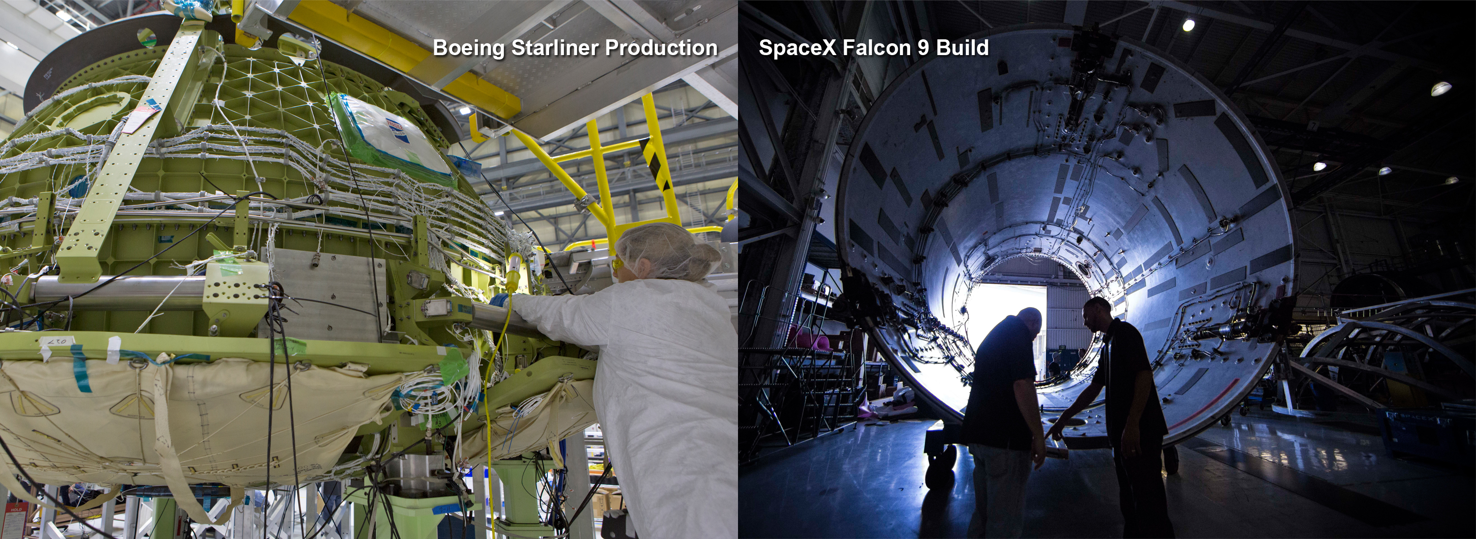 Combined image with Boeing Starliner in production on the left, and SpaceX Falcon 9 build on the right