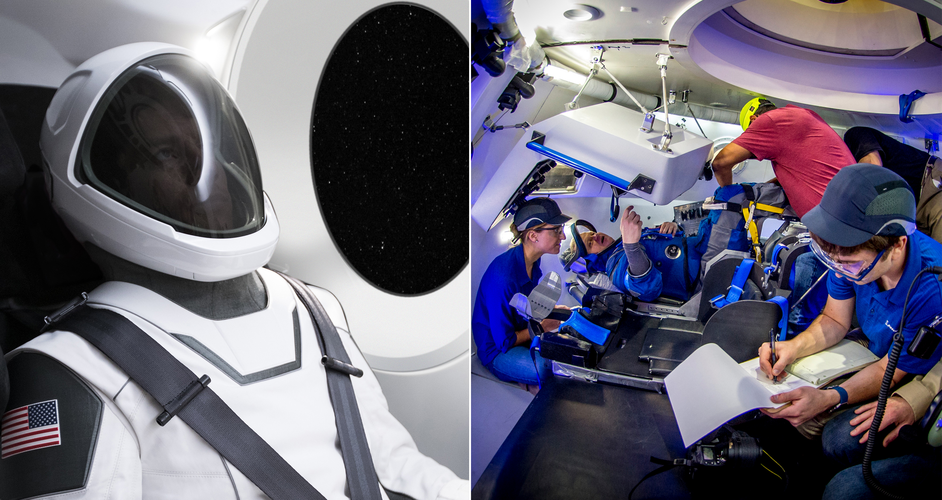 In this composite image, at left, an astronaut wears the SpaceX spacesuit design. At right, an astronaut wears the Boeing spacesuit design.
