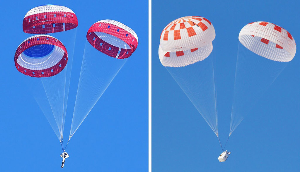 At left, Boeing conducted the first in a series of parachute reliability tests its Starliner flight drogue and main parachute system Feb. 22, 2018, over Yuma Arizona. Photo Credit: NASA. At right, SpaceX performed its fourteenth overall parachute test supporting Crew Dragon development March 4, 2018, over the Mojave Desert in Southern California. The test demonstrated an off-nominal, or abnormal, situation, deploying only one of the two drogue chutes and three of the four main parachutes. Photo credit: SpaceX