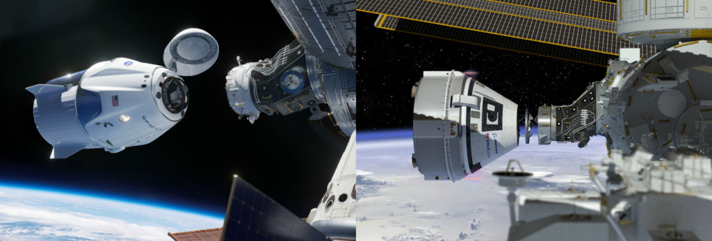 SpaceX's Crew Dragon and Boeing's Starliner will transport astronauts to the International Space Station.
