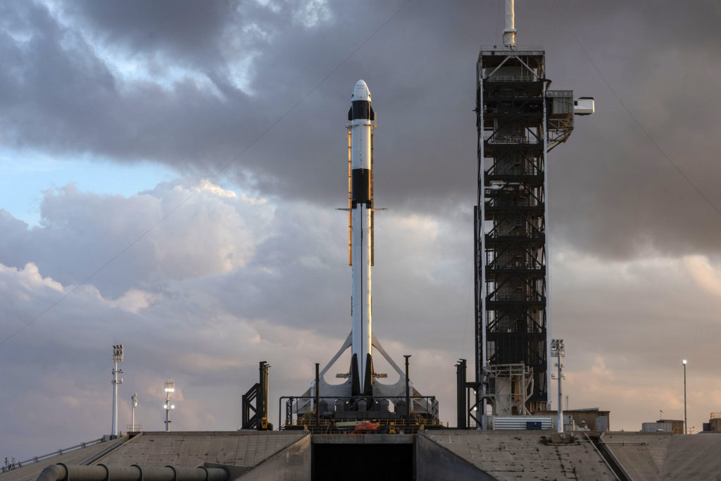 The SpaceX Falcon 9 rocket and Crew Dragon spacecraft rolled out to Launch Complex 39A and went vertical for a dry run to prep for the upcoming Demo-1 flight test.