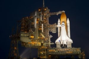 Space shuttle Atlantis at Launch Pad 39A on July 7, 2011, one day prior to liftoff on mission STS-135.