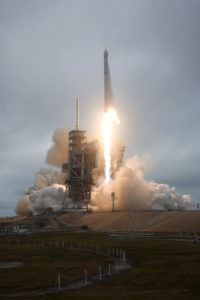 Liftoff of SpaceX CRS-10, a commercial resupply mission to the International Space Station, was the company's first launch from Launch Complex 39A.