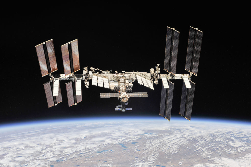 The International Space Station was photographed Oct. 4, 2018, by Expedition 56 crew members from a Soyuz spacecraft after undocking.