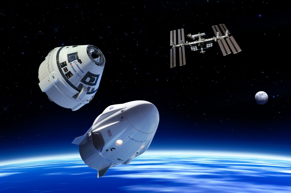 Illustration of Boeing CST-100 Starliner and SpaceX Crew Dragon in Earth orbit, along with International Space Station and Moon