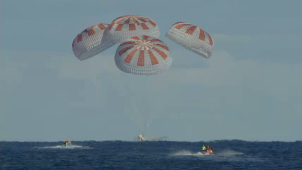 The SpaceX Crew Dragon splashes down in the Atlantic Ocean about 200 miles off Florida's east coast at 8:45 a.m. EST, Friday, March 8, 2019.
