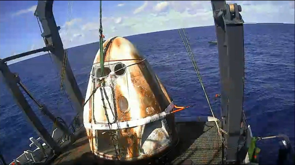 SpaceX's Crew Dragon spacecraft is safely aboard the company's recovery vessel, Go Searcher, following splashdown at 8:45 a.m. EST on Friday, March 8, 2019.