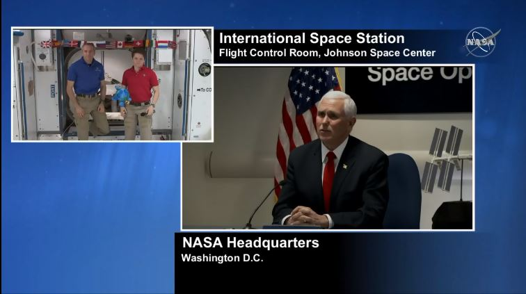 Vice President Mike Pence and NASA Administrator Jim Bridenstine call space station crew