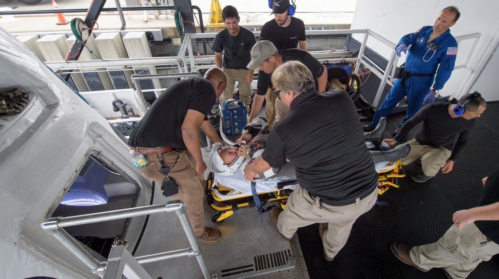 Teams from NASA and SpaceX, rehearse crew extraction in Port Canaveral