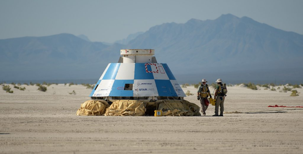 Teams from NASA, Boeing and the White Sands Missile Range, rehearse landing and crew extraction from Boeing's CST-100 Starliner, which will be used to carry humans to the International Space Station, on Wednesday, Sept. 11, 2019 at the White Sands Missile Range outside Las Cruces, New Mexico.