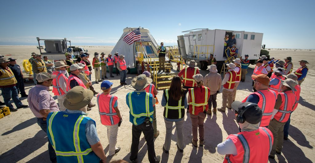 Using a convoy of vehicles Boeing uses to recover their spacecraft after landing and a boiler plate test article of the Starliner capsule, the teams worked through the steps necessary to safe the vehicle and get future crew members out of the Starliner to return home.