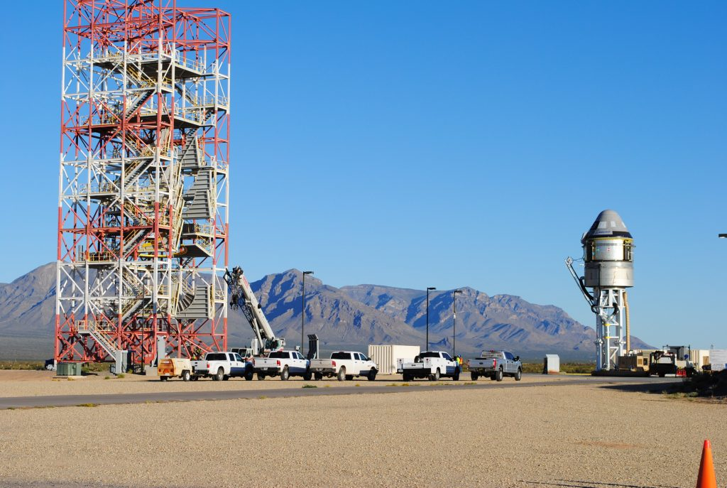 Boeing's CST-100 Starliner spacecraft and its service module sit atop the test stand at White Sands Missile Range in New Mexico ahead of the company's Pad Abort Test. The test is scheduled for Nov. 4, 2019.