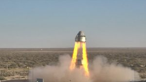 Boeing's CST-100 Starliner's four launch abort engines and several orbital maneuvering and attitude control thrusters ignite in the company's Pad Abort Test, pushing the spacecraft away from the test stand with a combined 160,000 pounds of thrust, from Launch Complex 32 on White Sands Missile Range in New Mexico.