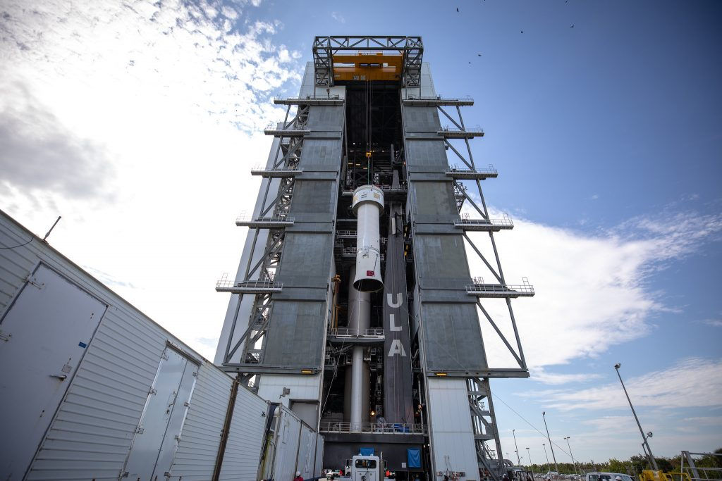 A Centaur upper stage is lifted at the Space Launch Complex 41 Vertical Integration Facility at Florida's Cape Canaveral Air Force Station on Nov. 8, 2019.