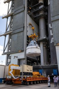 The Boeing CST-100 Starliner spacecraft is lifted at the Vertical Integration Facility at Space Launch Complex 41 at Florida's Cape Canaveral Air Force Station on Nov. 21, 2019.