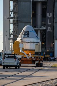 The Boeing CST-100 Starliner spacecraft arrives at the Vertical Integration Facility at Space Launch Complex 41 at Cape Canaveral Air Force Station in Florida on Nov. 21, 2019.
