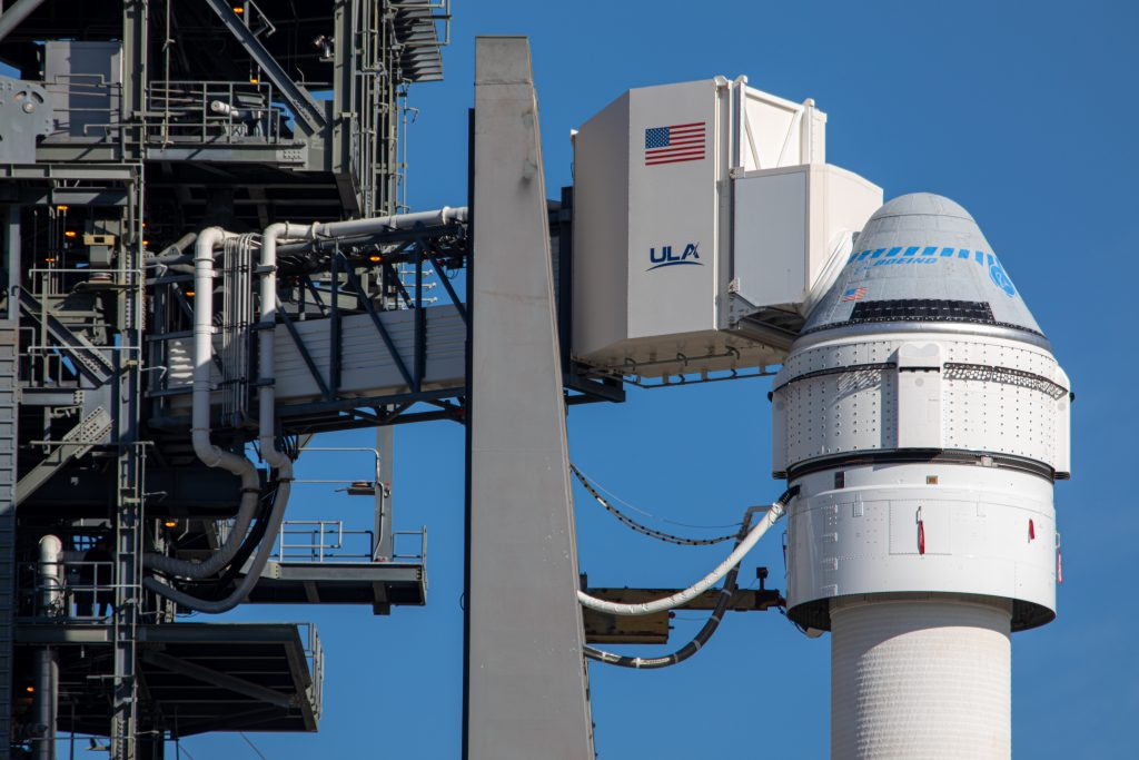 Boeing's CST-100 Starliner spacecraft sits atop a United Launch Alliance Atlas V rocket at Cape Canaveral Air Force Station's Space Launch Complex 41 in Florida on Dec. 5, 2019, for the program's first-ever Integrated Day of Launch Test the following day.