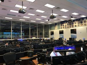 Controllers inside the flight control room supporting Starliner missions inside the Mission Control Center at Johnson Space Center, Houston.