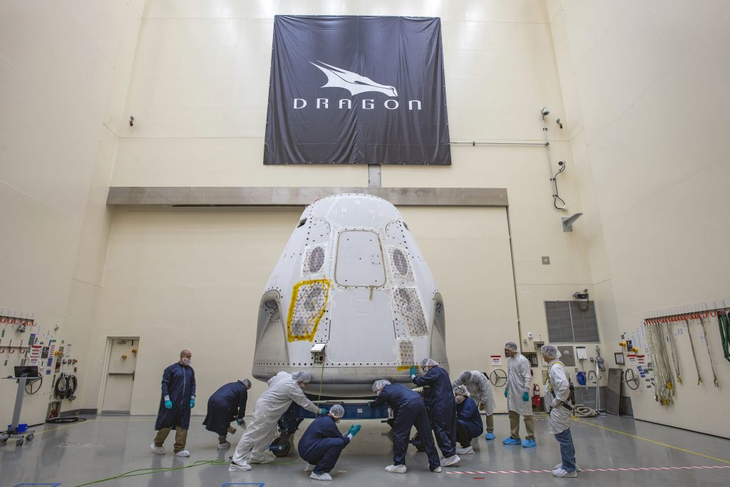 The SpaceX Crew Dragon spacecraft for Demo-2 arrived at the launch site on Feb. 13, 2020.