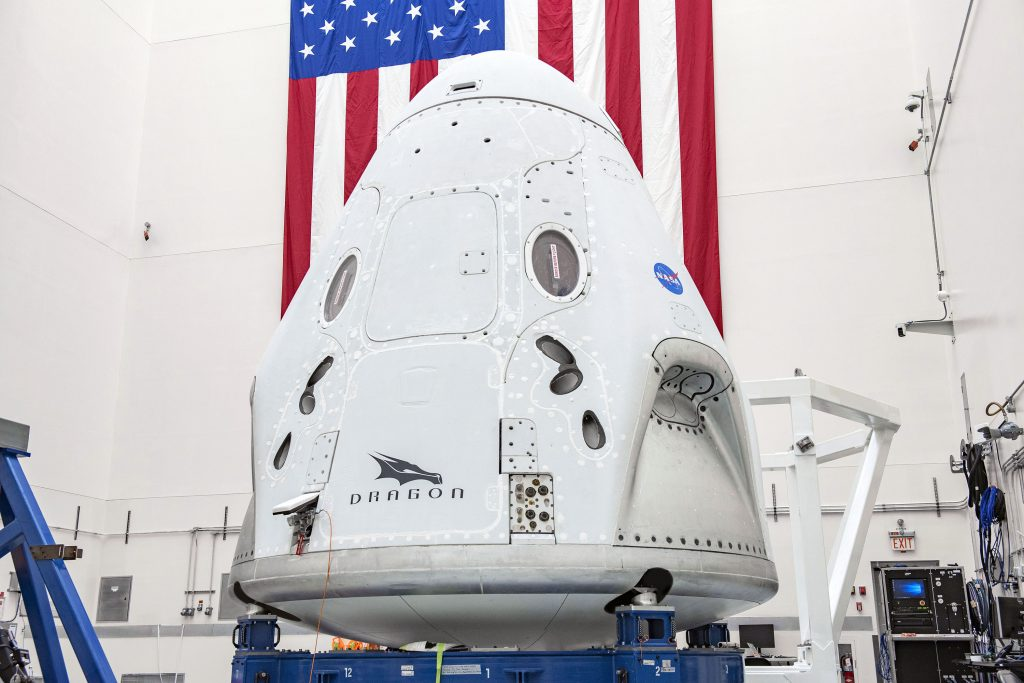 The SpaceX Crew Dragon spacecraft undergoes final processing at Cape Canaveral Air Force Station, Florida, in preparation for the Demo-2 launch with NASA astronauts Bob Behnken and Doug Hurley to the International Space Station for NASA's Commercial Crew Program.